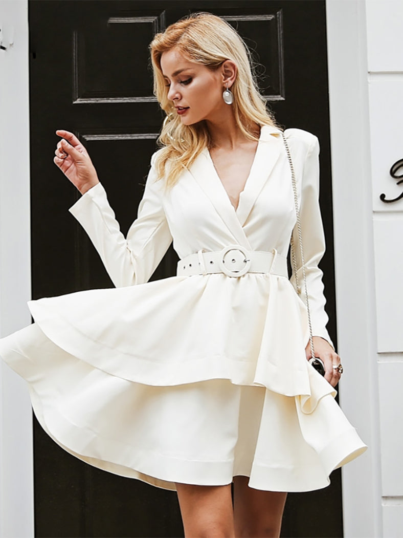 Elegant Ruffle Turndown Collar White High Waist Dress - BelleChloe