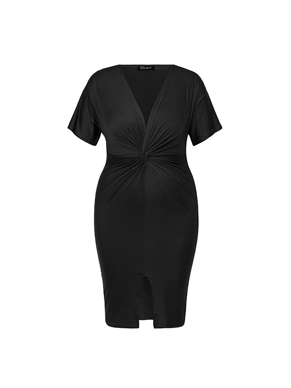 Sexy Cross V-neck Plus Size Short Sleeve  Stretch Casual Solid Split Dress