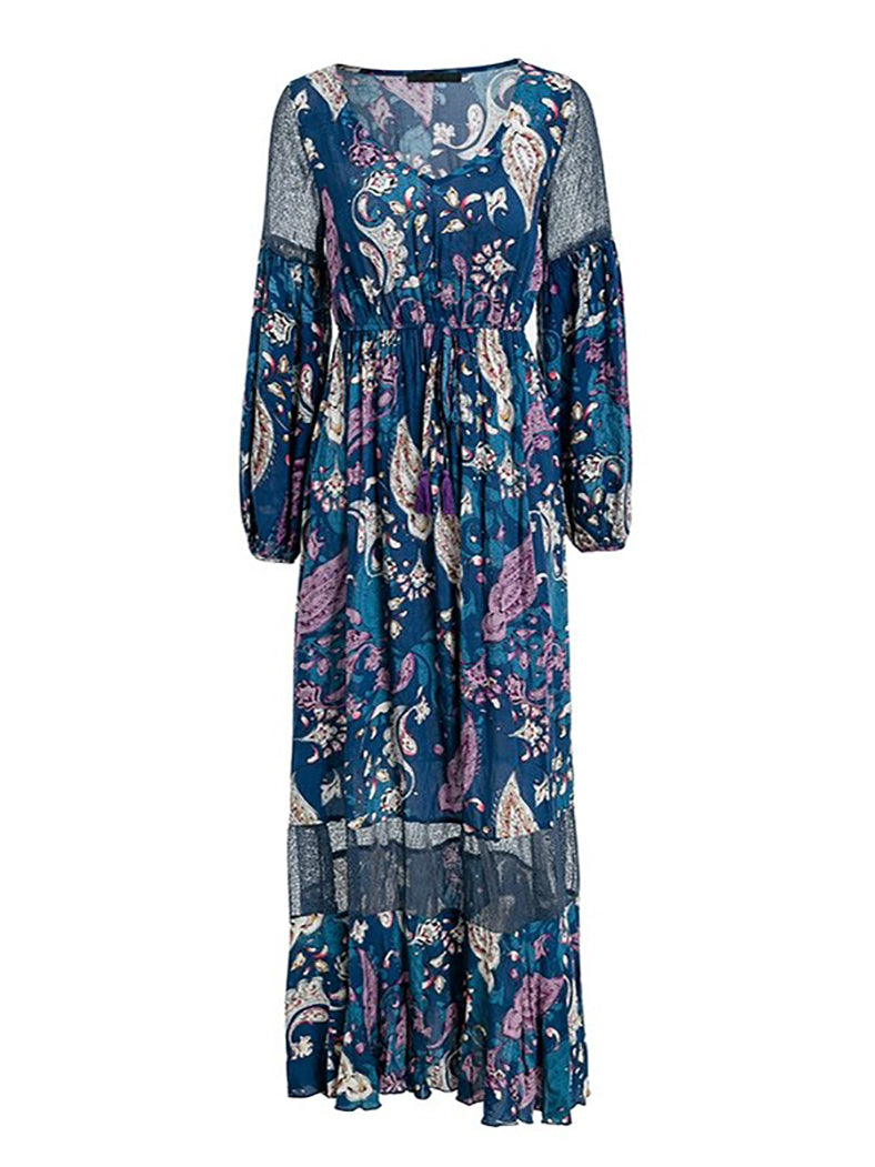 V Neck Print Long High Waist Dress-Dresses-BelleChloe