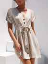 Elegant V-neck Embroidery Ruffle Pleated Cotton Lace Up  Casual Sexy Hollow Dress