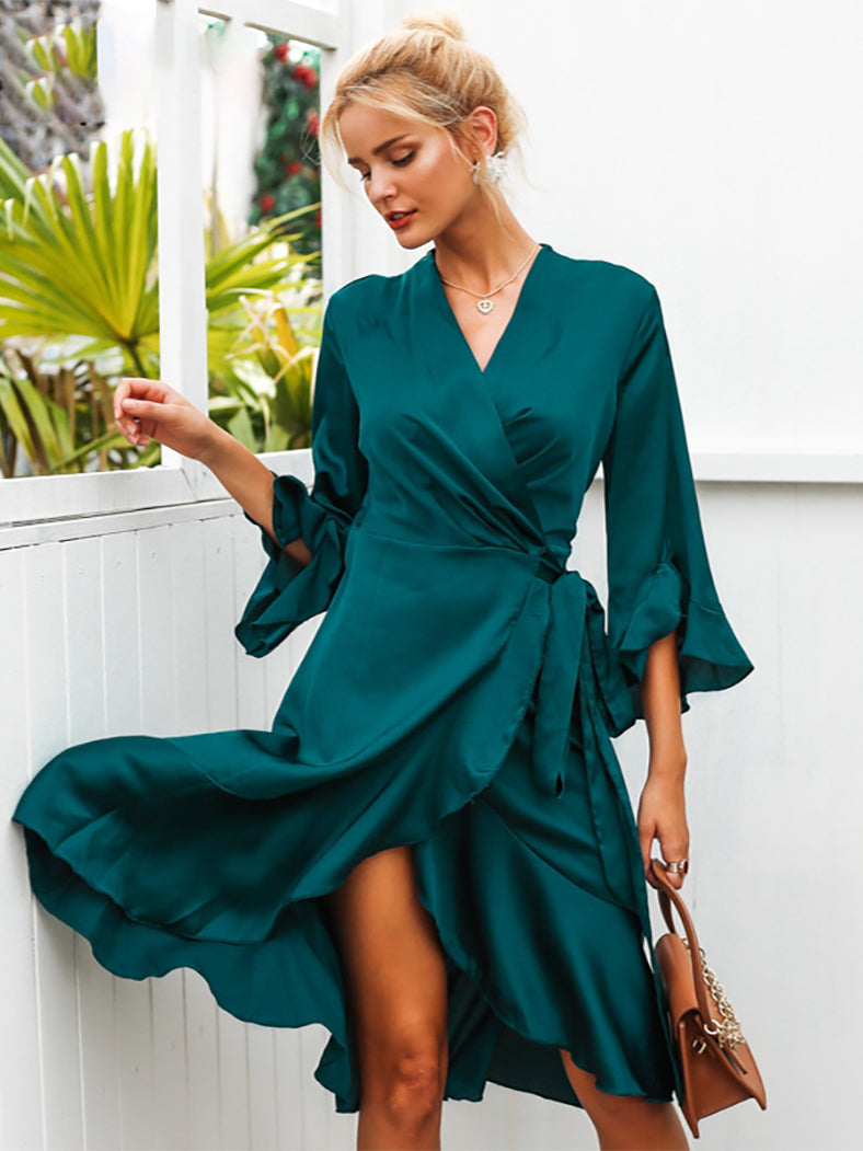 Autumn Elegant Satin Solid Wrap Dress - BelleChloe