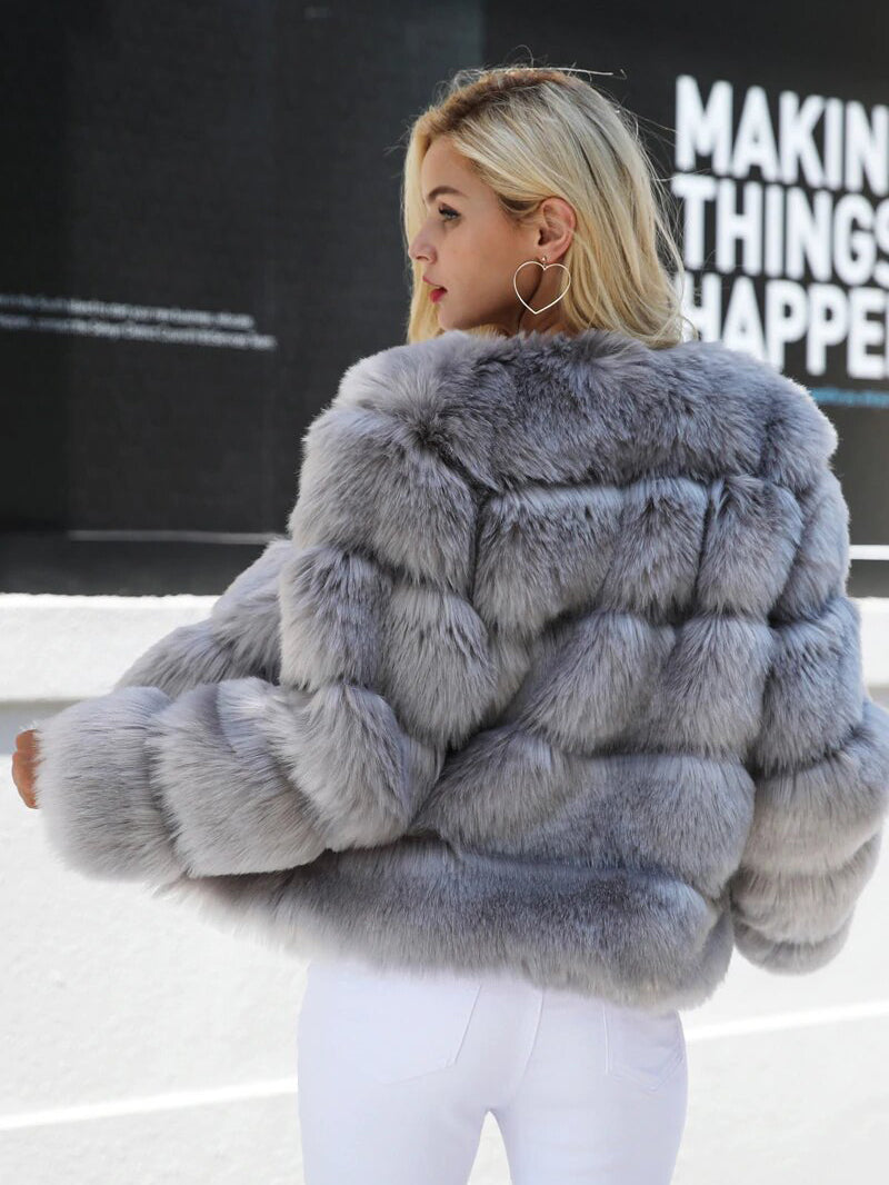 Vintage Fluffy Faux Fur Coat Women Short Furry Fake Fur Winter Outerwear Coat