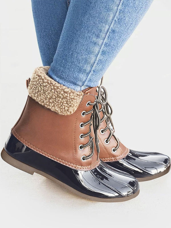 Plaid Lace Up Ankle Duck's Palm Shape Boots - BelleChloe