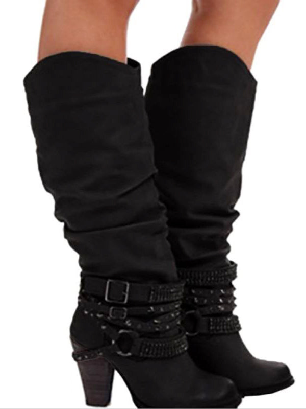 Fashion Buckle Strap Heeled Boots - BelleChloe