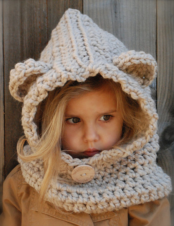 Animal Bear Ears Yarn Crochet Collar Hooded - BelleChloe