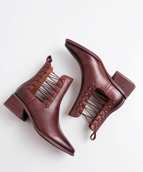 【HIGT QUALITY】Small Size  Women Fashionable Cross Hollow Chunky Heel Ankle Booties - BelleChloe