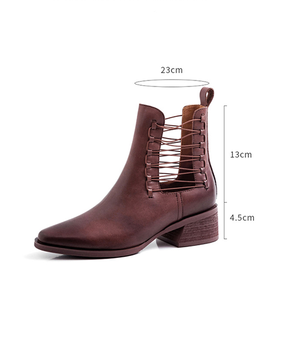 【HIGT QUALITY】Small Size  Women Fashionable Cross Hollow Chunky Heel Ankle Booties