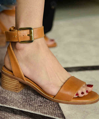 Suede Pointed Cross Strap Sandals