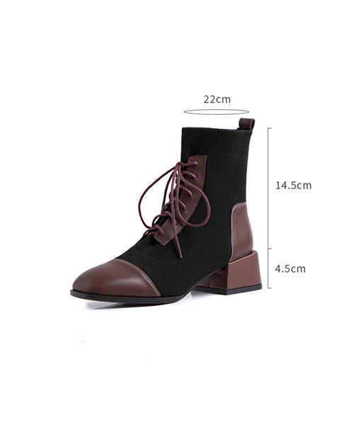【HIGT QUALITY】Small Size Fashionable Suede and PU Stitching Booties - BelleChloe