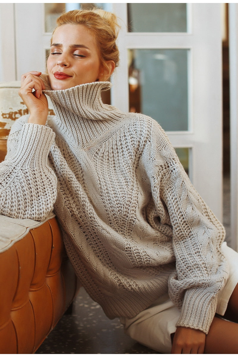 2018 New Lantern Sleeve Sweater Pullover For Women One Size One Color-Sweaters-BelleChloe