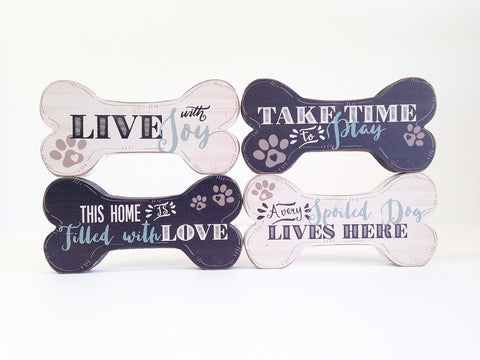Wood Dog Bone Signs For Shelves or Walls