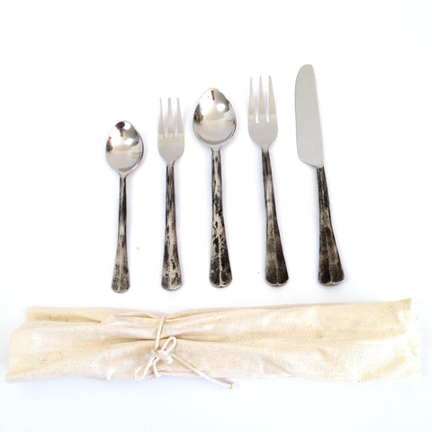 Creative Co-op 5-Piece Distressed Flatware Set, Distressed Flatware Set