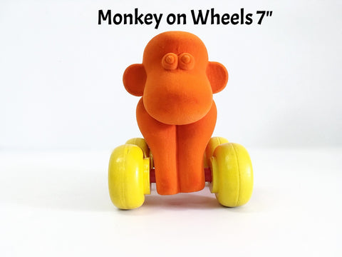 Velvety-soft, eco-friendly, and safe monkey on wheels for babies and toddlers