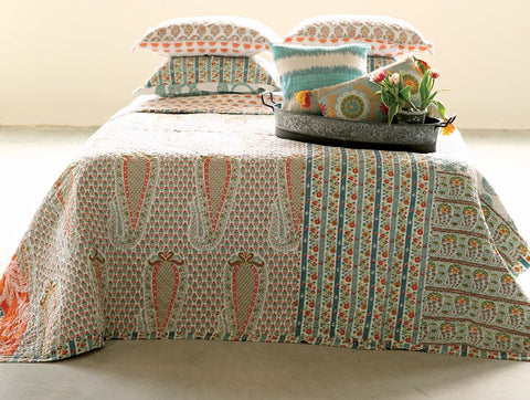 twin bed quilt and sham, bohemian twin bed quilt and sham, floral twin bed quilt and sham, teenage girl bed quilt and sham