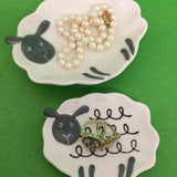 set of 2 sheep all purpose dishes to use for jewelry, coins, keys, soap, or even cookies!
