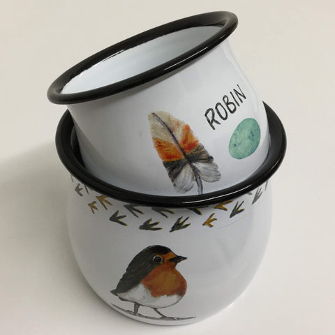 "bird containers, enameled ""robin red breast"" drink and soup mugs"