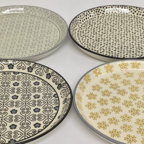 "stoneware plates, hand-stamped plates, 8"" stoneware plates, modern design plates, mismatched plate set"