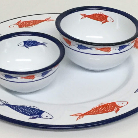 Bowls and Round Platter with Fish Motif