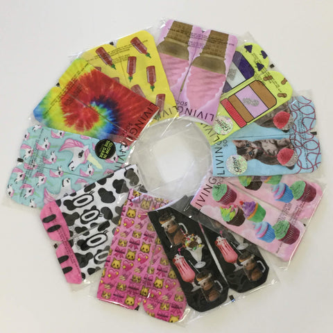 Women's size 6-8 colorful ankle socks pack of 10 styles, Party Pack socks, whimsical socks, fun socks, emoji socks, unicorn socks, cat socks, playful socks