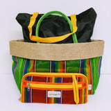 Vibrant striped multi-purpose tote with expandable clutch set