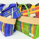 Rainbow colored tote, Colorful, durable, easy-clean grocery tote bag set with expandable clutch, rainbow colored bag with expandable clutch (set of 2), rainbow colored multi-purpose tote bag and expandable clutch set, colorful durable travel tote, colorful beach tote, unique sturdy grocery-shopping tote