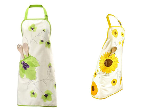 Charles Viancin Grape and Sunflower Aprons, All-In-One Aprons with Potholders