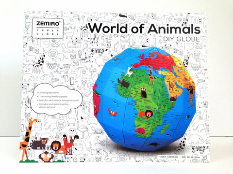 DIY Paper Color-In Globe --World of Animals