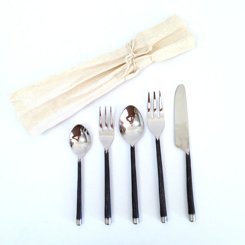 Creative Co-op 5-Piece Forged Silver Flatware Set