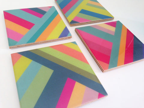 Glossy Waterproof Striped Resin Coasters, waterproof coasters