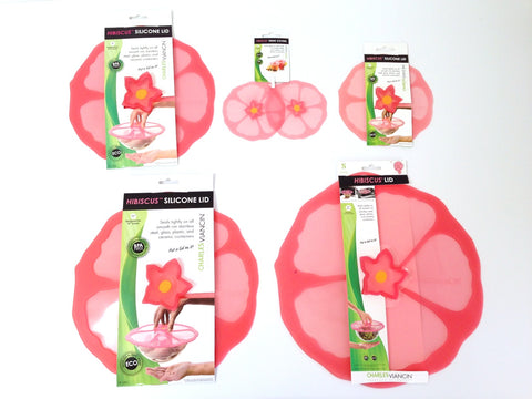 Charles Viancin Pink Hibiscus Kitchen Lid Set, food storage, food covers, food lids