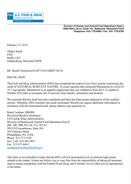 Natureal-supplements-FDA-recall-2015-close-out-letter