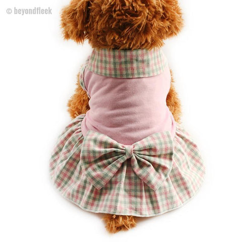 Plaid lapel Princess Dress For Dogs XS, S, M, L, XL