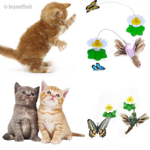 Funny Electric Rotating Butterfly Bird Steel Wire Cat Teaser