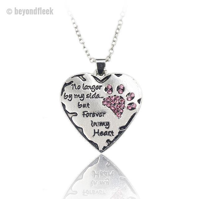"FREE ""No longer by my side, but forever in my heart"" Paw Shape Pendant Necklace"