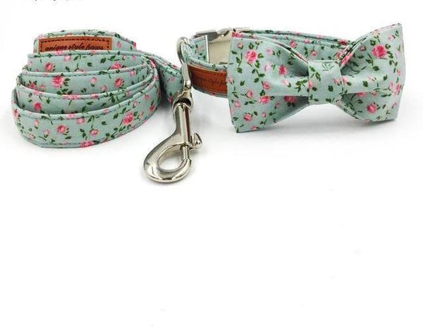 Pretty Rose Print Bow Tie Collar & Leash