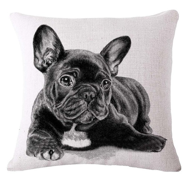 45*45cm Lovely French Bulldog Pattern Cushion Cover