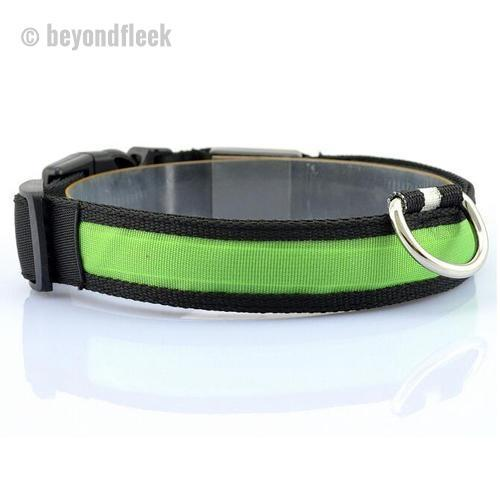 Nylon LED Pet Dog Collar S M L XL Size