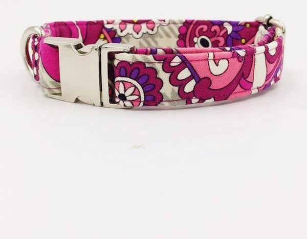 Pink Flower Bow Tie Collar & Leash
