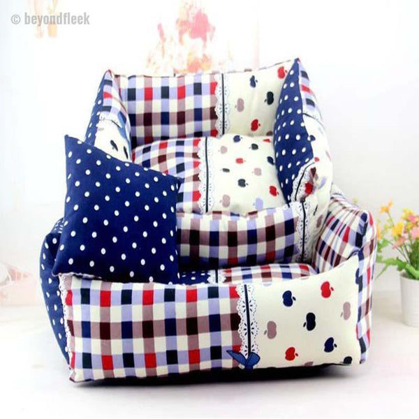 Grid and Dots Design Cute Sofa Bed with Cushion