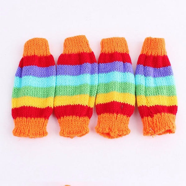 Rainbow Colors Winter Hat and Scarf Set for Dogs