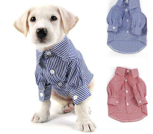 New Arrival Puff Sleeve Suits Stripes Shirt for Dogs Fit XS-XL
