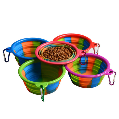 Rainbow Color Folding Silicone Portable Pet Bowl