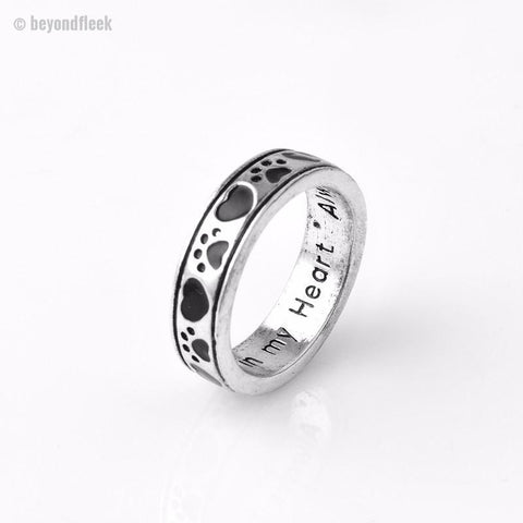 "Engraved ""Always by my side, Forever in my heart"" Dog Paw print Wrap Ring"