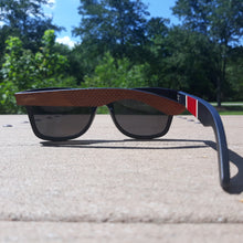 Load image into Gallery viewer, red stripe bamboo sunglasses outside rear view