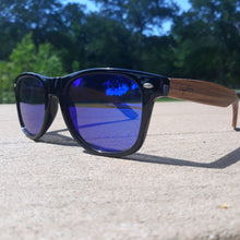 Load image into Gallery viewer, zebrawood sunglasses with blue lens outside quarter view
