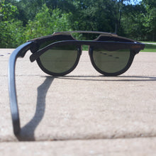 Load image into Gallery viewer, black wood with silver metal frame sunglasses rear view