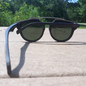 black wood with silver metal frame sunglasses rear view