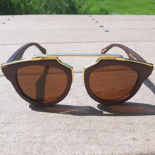 Load image into Gallery viewer, cherry wood with gold metal frame sunglasses front view outside