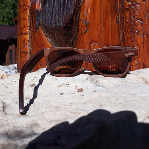 ebony wooden sunglasses rear view outdoors