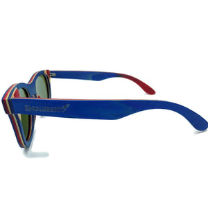 blue bamboo polarized sunglasses